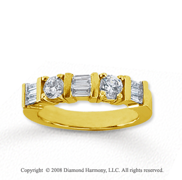 18k Yellow Gold 5 Stone 1 Carat Diamond Anniversary Band