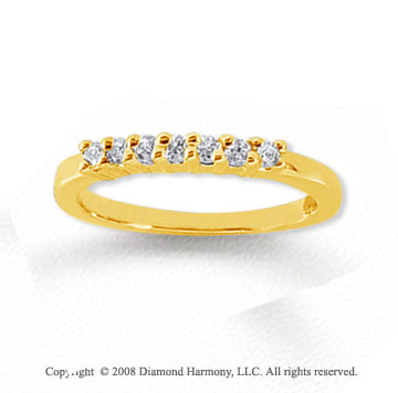 14k Yellow Gold 7 Stone 1/4 Carat Diamond Anniversary Band