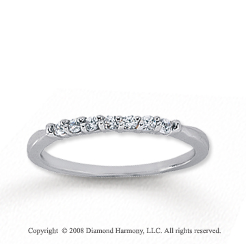 14k White Gold 7 Stone 1/6 Carat Diamond Anniversary Band