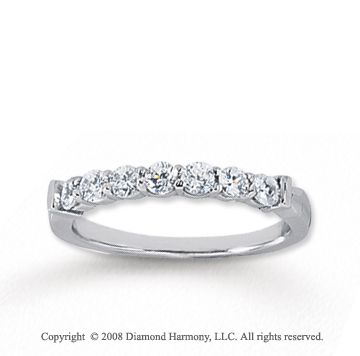 14k White Gold 7 Stone 1/2 Carat Diamond Anniversary Band