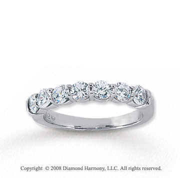 18k White Gold 7 Stone 1 Carat Diamond Anniversary Band
