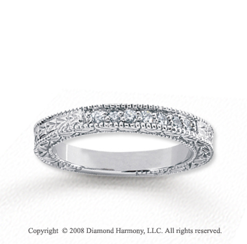 18k White Gold 7 Stone 1/6 Carat Diamond Anniversary Band