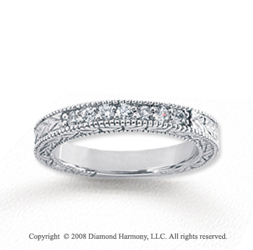 18k White Gold 7 Stone 1/4 Carat Diamond Anniversary Band