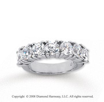 14k White Gold 7 Stone 3 Carat Diamond Anniversary Band