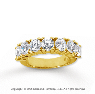 14k Yellow Gold 7 Stone 3 Carat Diamond Anniversary Band