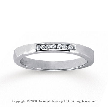 14k White Gold 7 Stone 1/10 Carat Diamond Anniversary Band