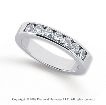 Palladium 7 Stone 3/4 Carat Diamond Anniversary Band