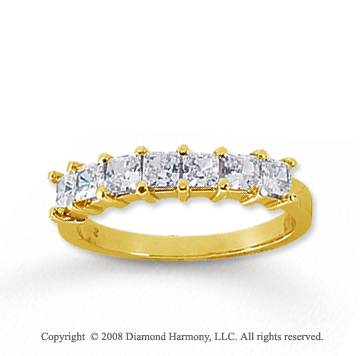 14k Yellow Gold 7 Stone 1 Carat Diamond Anniversary Band
