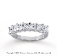 18k White Gold 7 Stone 1 1/2 Carat Diamond Anniversary Band