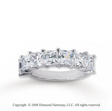 18k White Gold 7 Stone 3 1/2 Carat Diamond Anniversary Band