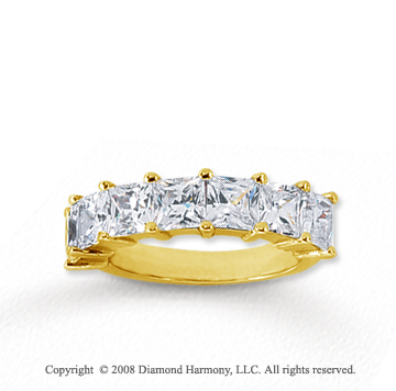 14k Yellow Gold 7 Stone 3 1/2 Carat Diamond Anniversary Band