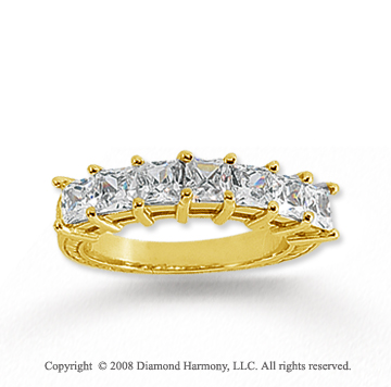 14k Yellow Gold 7 Stone 1 3/4 Carat Diamond Anniversary Band
