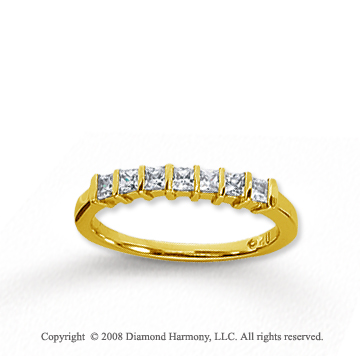 18k Yellow Gold 7 Stone 1/2 Carat Diamond Anniversary Band