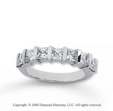 14k White Gold 7 Stone 1 1/2 Carat Diamond Anniversary Band