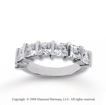 18k White Gold 7 Stone 2 1/2 Carat Diamond Anniversary Band