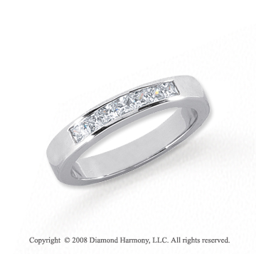 Platinum 7 Stone 1/2 Carat Diamond Anniversary Band