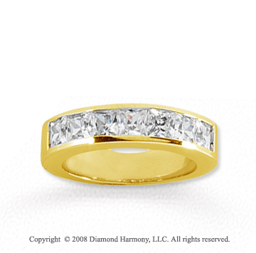 14k Yellow Gold 7 Stone 1 1/2 Carat Diamond Anniversary Band
