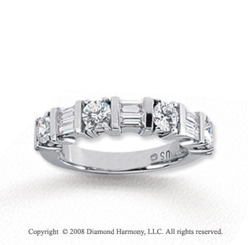 18k White Gold 7 Stone 1 1/4 Carat Diamond Anniversary Band