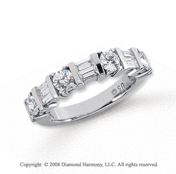 Platinum 7 Stone 1 1/4 Carat Diamond Anniversary Band