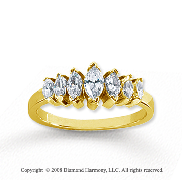 18k Yellow Gold 7 Stone 1 1/4 Carat Diamond Anniversary Band