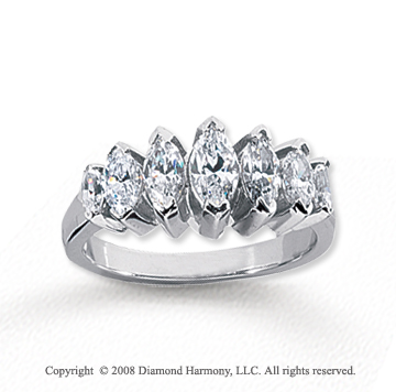 18k White Gold 7 Stone 1 3/4 Carat Diamond Anniversary Band
