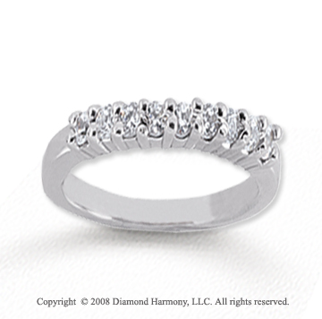 14k White Gold 9 Stone 1/4 Carat Diamond Anniversary Band