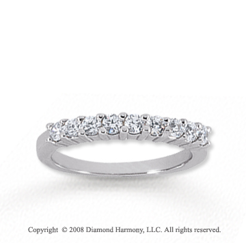 14k White Gold 9 Stone 1/2 Carat Diamond Anniversary Band