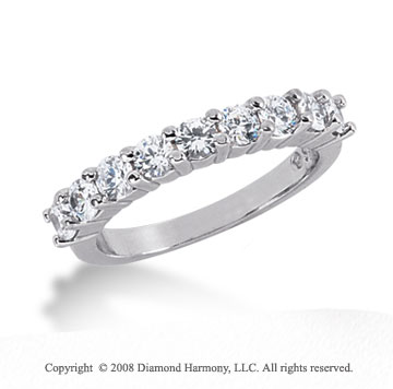 Platinum 9 Stone 1 Carat Diamond Anniversary Band