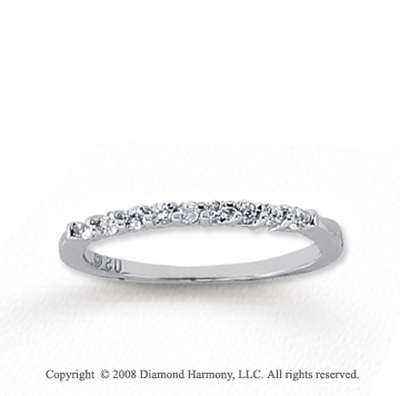 18k White Gold 9 Stone 1/6 Carat Diamond Anniversary Band