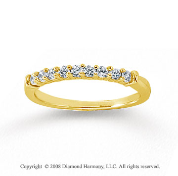 18k Yellow Gold 9 Stone 1/4 Carat Diamond Anniversary Band