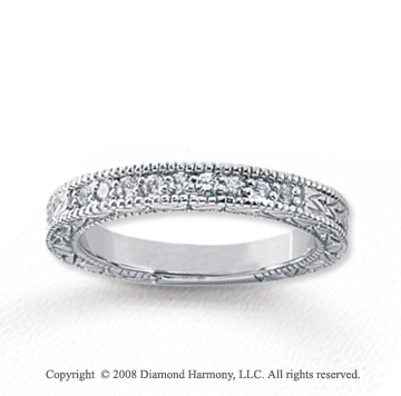 14k White Gold 9 Stone 1/6 Carat Diamond Anniversary Band