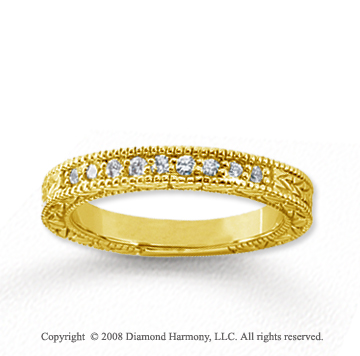 18k Yellow Gold 9 Stone 1/6 Carat Diamond Anniversary Band