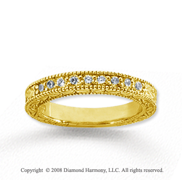 14k Yellow Gold 9 Stone 1/3 Carat Diamond Anniversary Band