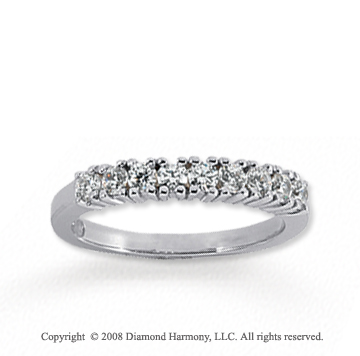 18k White Gold 9 Stone 1/2 Carat Diamond Anniversary Band