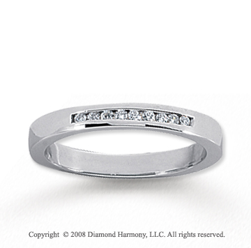 14k White Gold 9 Stone 1/10 Carat Diamond Anniversary Band