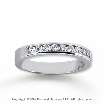 14k White Gold 9 Stone 1/3 Carat Diamond Anniversary Band