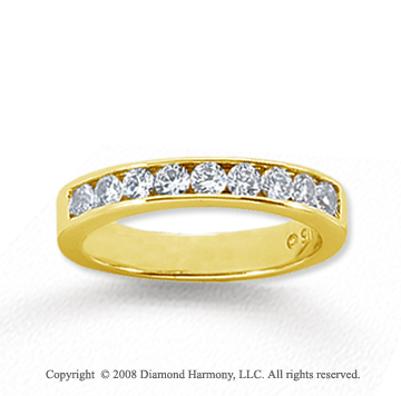 18k Yellow Gold 9 Stone 1/2 Carat Diamond Anniversary Band