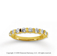 18k Yellow Gold 9 Stone 3/4 Carat Diamond Anniversary Band