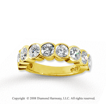 18k Yellow Gold 9 Stone 2 1/4 Carat Diamond Anniversary Band