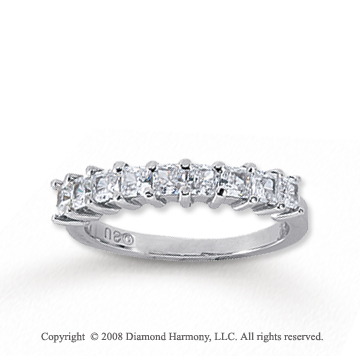 14k White Gold 9 Stone 1 Carat Diamond Anniversary Band