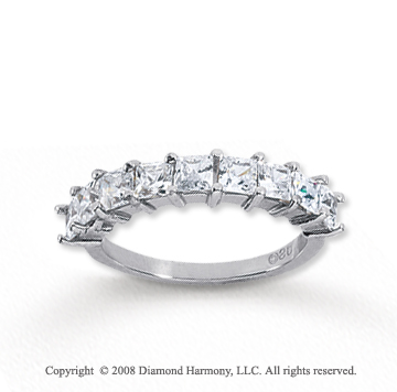 18k White Gold 9 Stone 1 1/2 Carat Diamond Anniversary Band