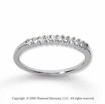 14k White Gold 11 Stone 1/6 Carat Diamond Anniversary Band