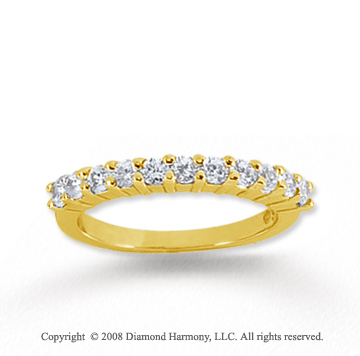 14k Yellow Gold 11 Stone 1/2 Carat Diamond Anniversary Band