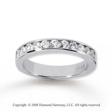 14k White Gold 11 Stone 1/2 Carat Diamond Anniversary Band
