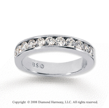 14k White Gold 11 Stone 3/4 Carat Diamond Anniversary Band