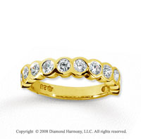 14k Yellow Gold 11 Stone 3/4 Carat Diamond Anniversary Band