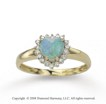 14k Yellow Gold Heart Shaped Opal 0.15 Carat Diamond Ring