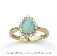 14k Yellow Gold Pear Shaped Opal 1/4 Carat Diamond Ring