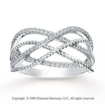 1/3 Carat Diamond 14k White Gold Twisted Rope Fashion Ring