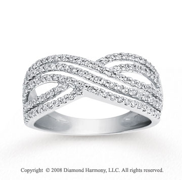 2/5 Carat Diamond 14k White Gold Rope Fashion Ring